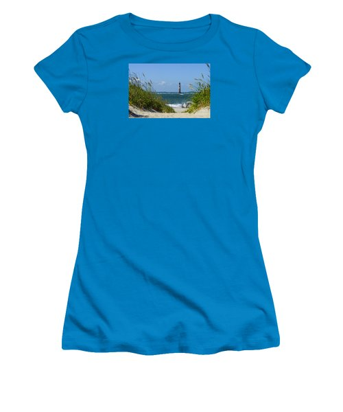 Morris Island Lighthouse Walkway Women's T-Shirt (Junior Cut) by Jennifer White