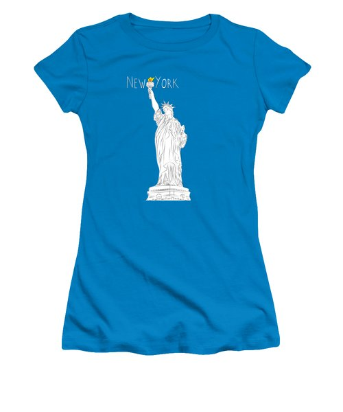 Ny Statue Of Liberty Line Art Women's T-Shirt (Athletic Fit)