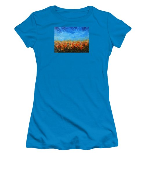 Women's T-Shirt (Junior Cut) featuring the painting Orange Sensation by Jane See
