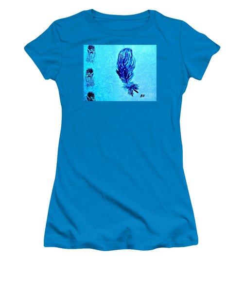 Painted Feather Women's T-Shirt (Junior Cut) by Marsha Heiken