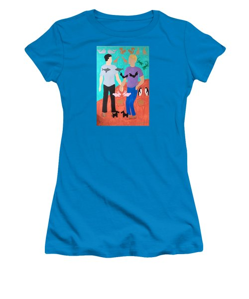 Women's T-Shirt (Junior Cut) featuring the painting Pairs by Erika Chamberlin