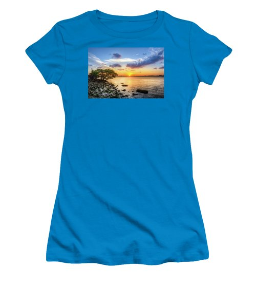 Women's T-Shirt (Junior Cut) featuring the photograph Peaceful Evening On The Waterway by Debra and Dave Vanderlaan