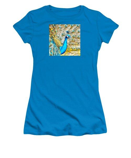 Women's T-Shirt (Junior Cut) featuring the digital art Peacock Paradise by Charmaine Zoe