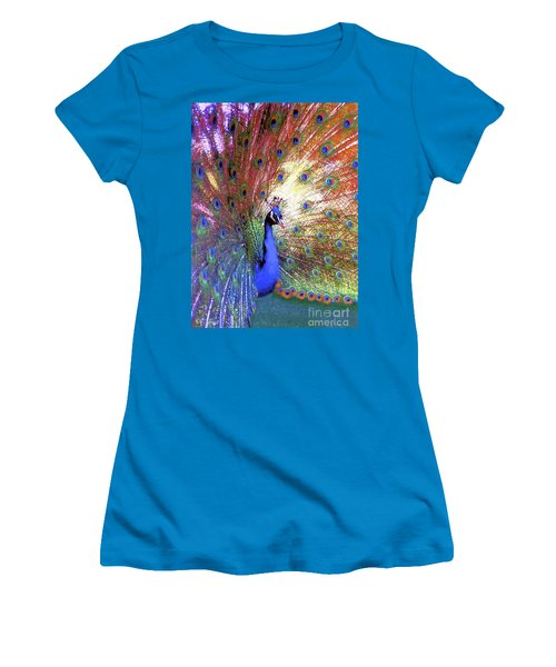 Peacock Wonder, Colorful Art Women's T-Shirt (Athletic Fit)