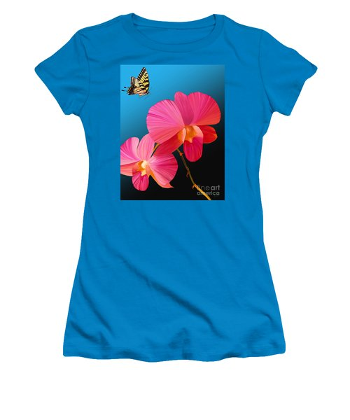 Women's T-Shirt (Junior Cut) featuring the painting Pink Lux Butterfly by Rand Herron