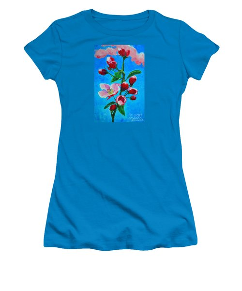 Women's T-Shirt (Junior Cut) featuring the painting Pink Spring by Ana Maria Edulescu