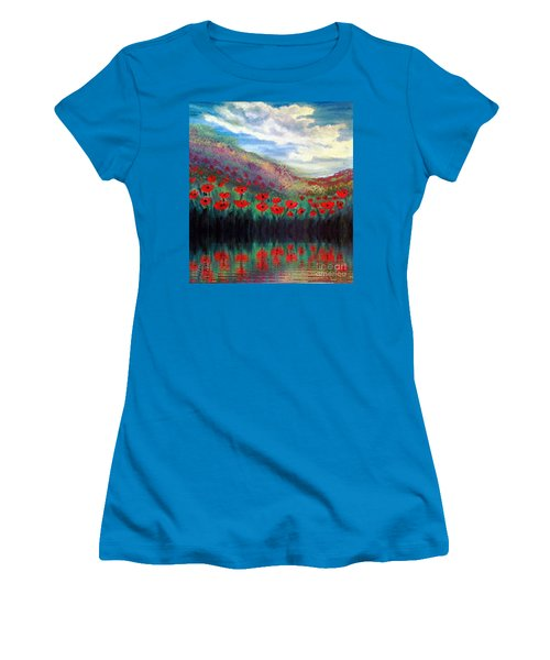 Women's T-Shirt (Junior Cut) featuring the painting Poppy Wonderland by Holly Martinson