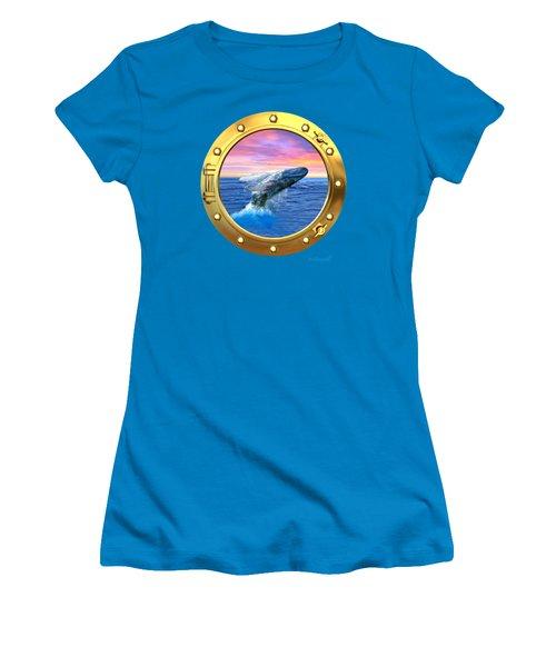 Porthole View Of Breaching Whale Women's T-Shirt (Junior Cut) by Glenn Holbrook