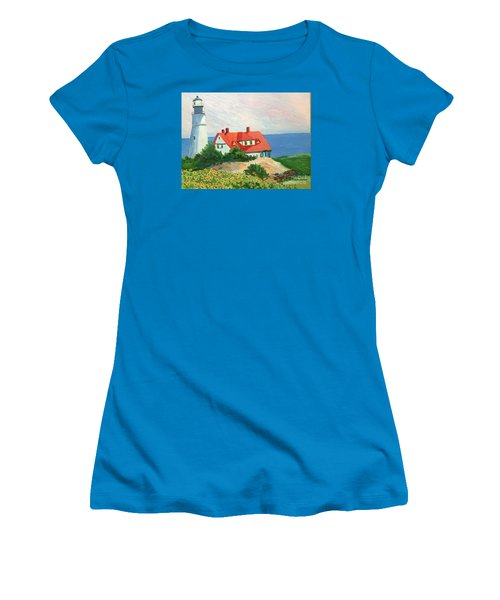 Portland Headlight With Brown Eyed Susans Women's T-Shirt (Athletic Fit)