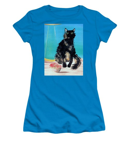 Women's T-Shirt (Junior Cut) featuring the painting Portrait Of Muffin by Denise Fulmer