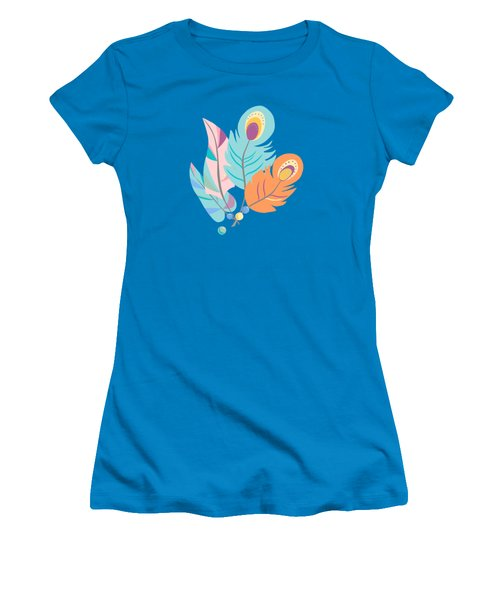 Pretty Boho Peacock Feather Pattern Women's T-Shirt (Athletic Fit)