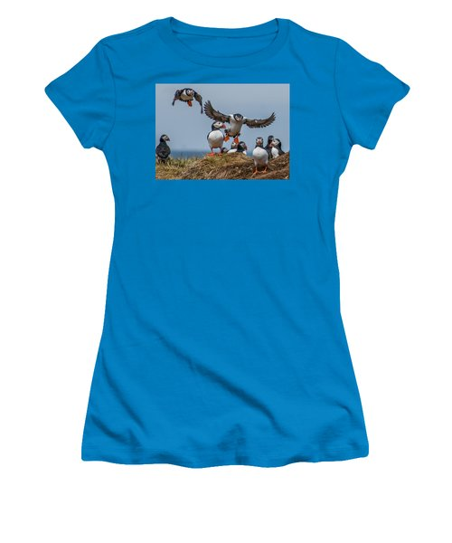 Puffins Women's T-Shirt (Junior Cut) by Brian Tarr