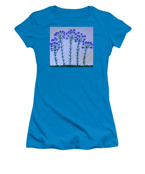 Purple Flowers On Long Stems Women's T-Shirt (Athletic Fit)