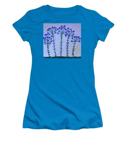 Purple Flowers On Long Stems Women's T-Shirt (Junior Cut)
