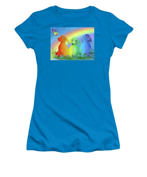 Women's T-Shirt (Athletic Fit) featuring the mixed media Rainbow Doxies 2 by Carol Cavalaris