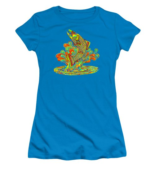 Rainbow Trout Women's T-Shirt (Junior Cut) by Rebecca Wang