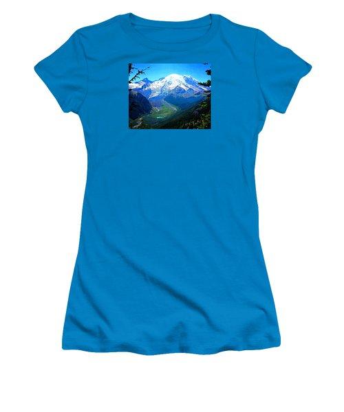 Ranier And Little Tahoma Women's T-Shirt (Junior Cut) by Timothy Bulone