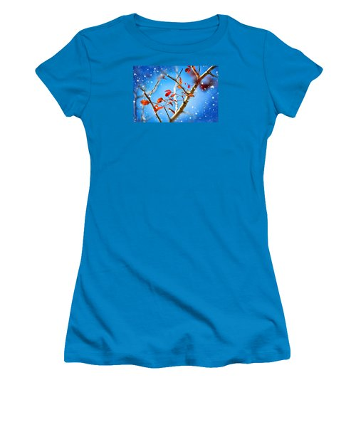 Red Leaves On Blue Background Women's T-Shirt (Athletic Fit)