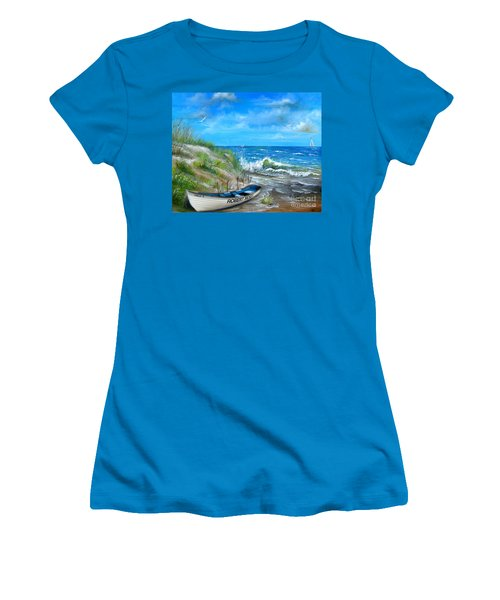 Robert Moses Beach Women's T-Shirt (Junior Cut) by Patrice Torrillo