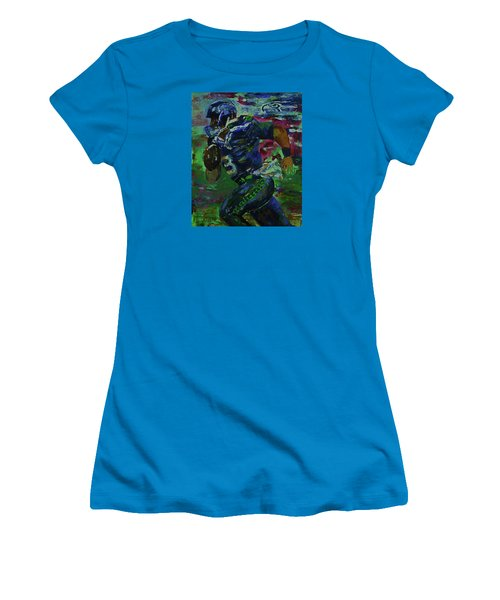 Women's T-Shirt (Junior Cut) featuring the painting Russell Wilson - Seahawks Football by Walter Fahmy