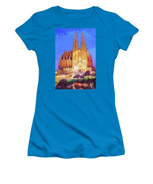 Sagrada Familia At Night Women's T-Shirt (Athletic Fit)