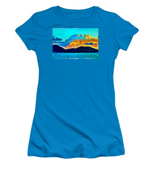 Women's T-Shirt (Athletic Fit) featuring the painting San Juan Seascape by Joan Reese