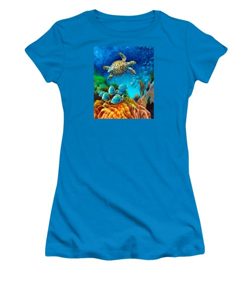 Sea Escape IIi - Gemstone Hawksbill Turtle Women's T-Shirt (Athletic Fit)