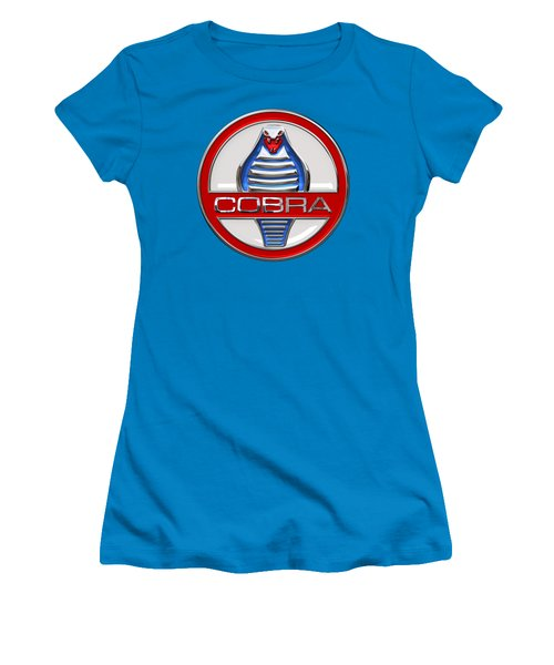 Shelby Ac Cobra - Original 3d Badge On Blue And White Women's T-Shirt (Athletic Fit)
