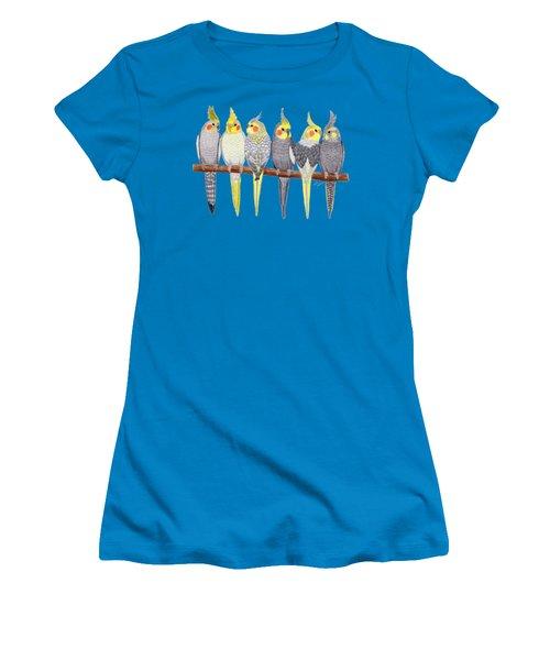Six Cockatiels Women's T-Shirt (Junior Cut) by Rita Palmer