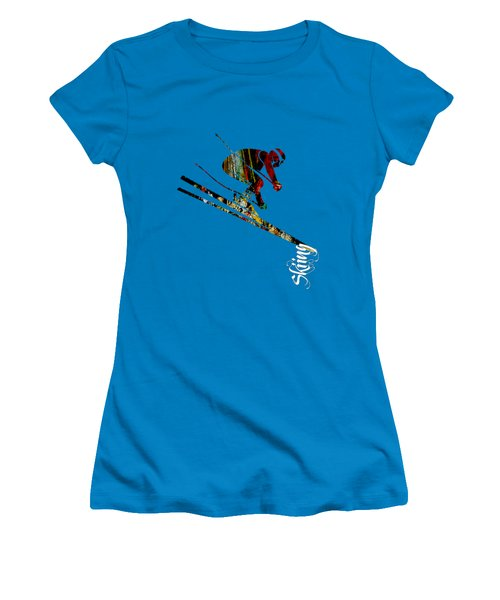 Skiing Collection Women's T-Shirt (Junior Cut) by Marvin Blaine