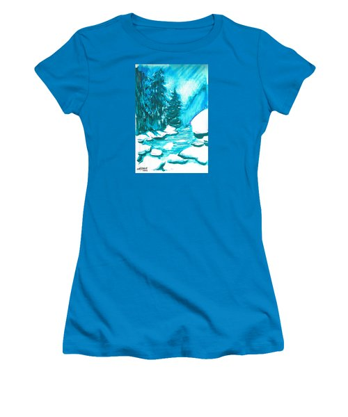 Women's T-Shirt (Junior Cut) featuring the mixed media Snowy Creek Banks by Seth Weaver