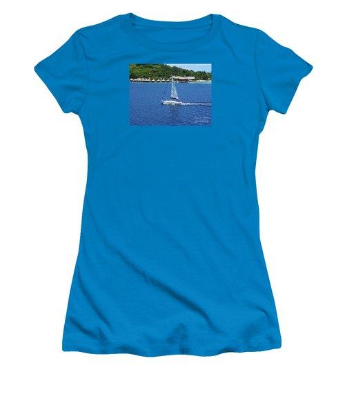 Women's T-Shirt (Junior Cut) featuring the photograph South Sea Sail by Phyllis Kaltenbach