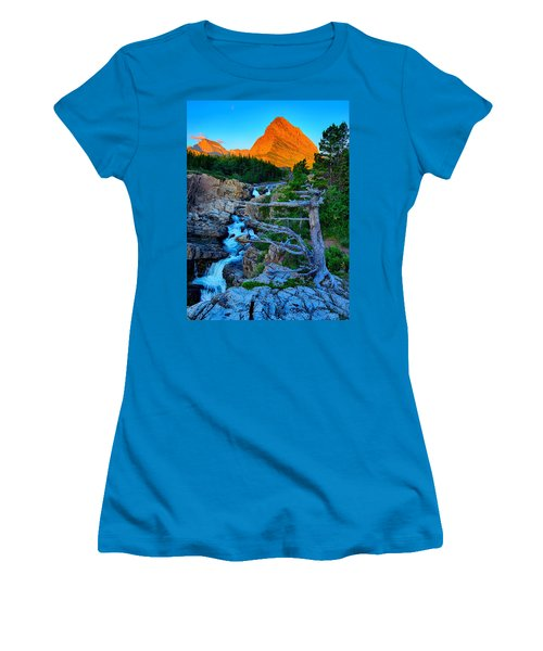 Women's T-Shirt (Junior Cut) featuring the photograph Swiftcurrent Falls by Greg Norrell