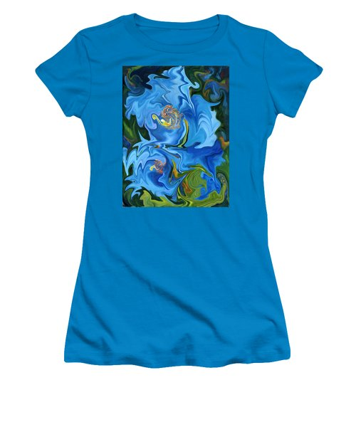 Swirled Blue Poppies Women's T-Shirt (Athletic Fit)