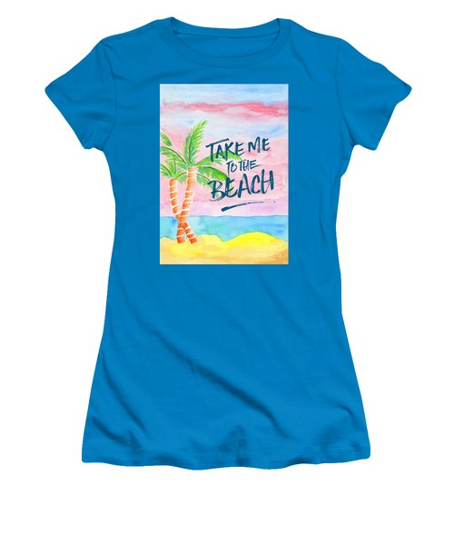 Take Me To The Beach Palm Trees Watercolor Painting Women's T-Shirt (Athletic Fit)