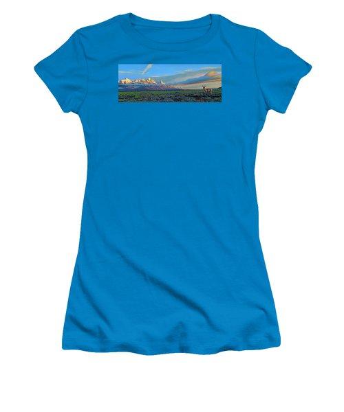 Teton Morning Women's T-Shirt (Junior Cut) by Paul Krapf