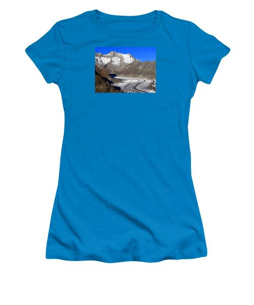 The Large Aletsch Glacier In Switzerland Women's T-Shirt (Junior Cut) by Ernst Dittmar