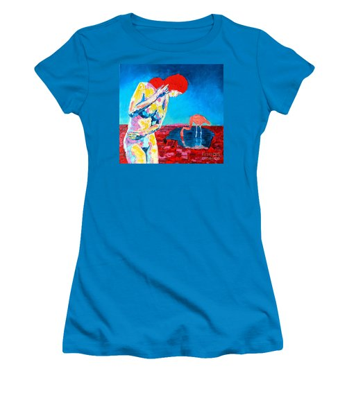 Women's T-Shirt (Junior Cut) featuring the painting Thinking Woman by Ana Maria Edulescu