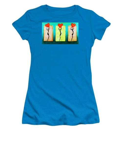 Women's T-Shirt (Athletic Fit) featuring the painting Three Abstract Figures With Hearts by Bob Baker