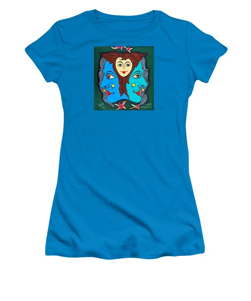 Women's T-Shirt (Junior Cut) featuring the painting Three Faces Of Smiling by Ragunath Venkatraman