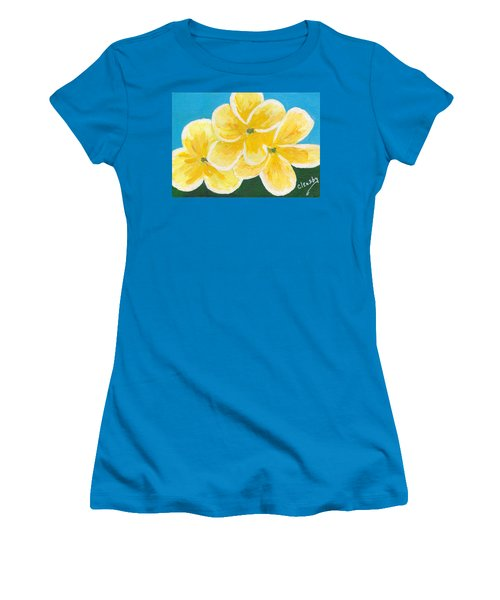Three Flowers On Blue Women's T-Shirt (Junior Cut) by Patricia Cleasby