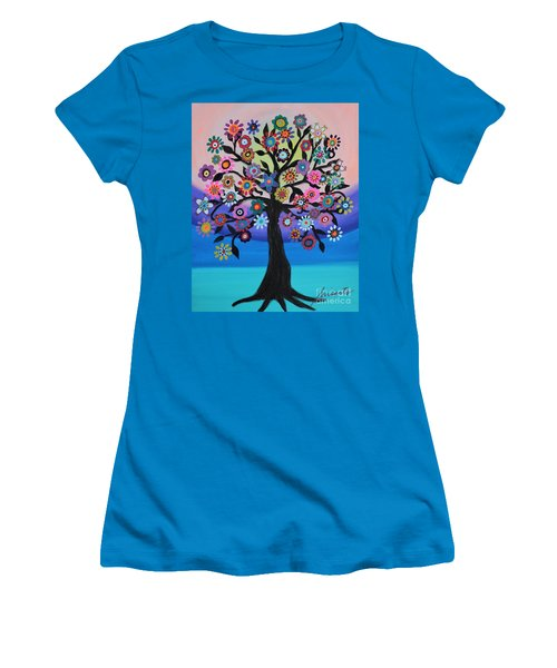 Women's T-Shirt (Athletic Fit) featuring the painting Blooming Tree Of Life by Pristine Cartera Turkus