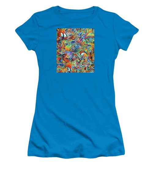 Women's T-Shirt (Athletic Fit) featuring the painting Tropical Beach Art - Under The Sea - Sharon Cummings by Sharon Cummings