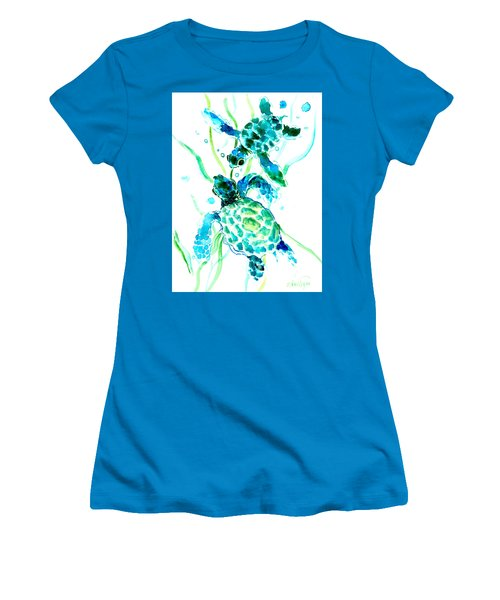 Turquoise Indigo Sea Turtles Women's T-Shirt (Junior Cut) by Suren Nersisyan