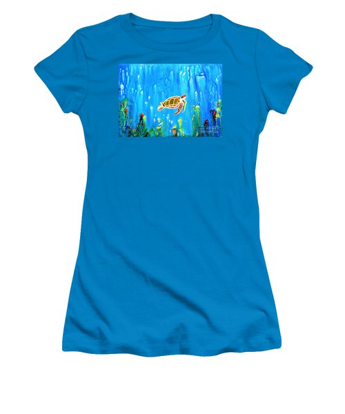Underwater Magic 5-happy Turtle Women's T-Shirt (Athletic Fit)