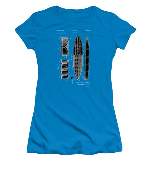 Women's T-Shirt (Junior Cut) featuring the photograph Vintage Surf Board Patent 1950 by Bill Cannon