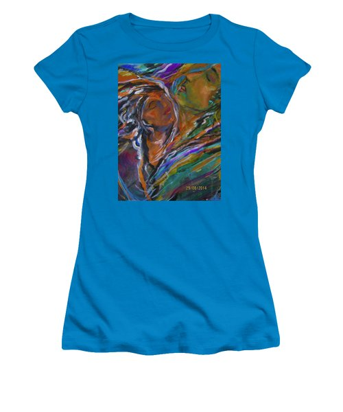 Women's T-Shirt (Junior Cut) featuring the painting Violets And Ordchid by Dawn Fisher