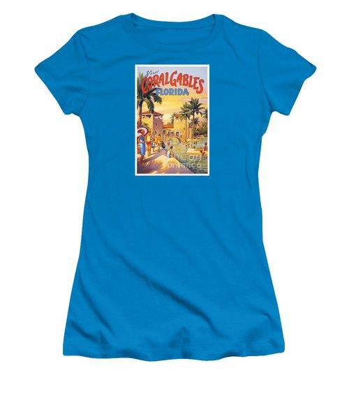 Visit Coral Gables-florida Women's T-Shirt (Junior Cut) by Nostalgic Prints