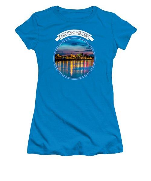 Women's T-Shirt (Junior Cut) featuring the photograph Warsaw Souvenir T-shirt Design 1 Blue by Julis Simo