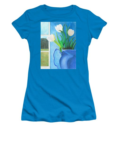 White Tulips Women's T-Shirt (Athletic Fit)